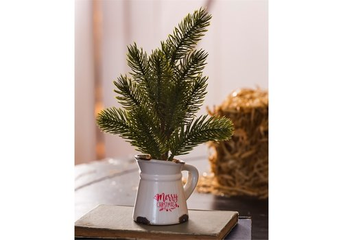 Cypress Home Mini Pine Tree Decor In Ceramic Pitcher 10""