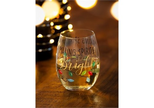 Cypress Home Stemless Wine Glass Making Spirits Bright