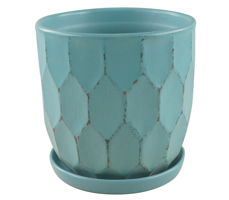 Distressed Honeycomb Pot With Saucer