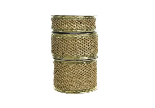 Kaemingk Mesh Ribbon Light Gold