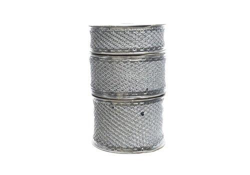 Kaemingk Mesh Ribbon Silver
