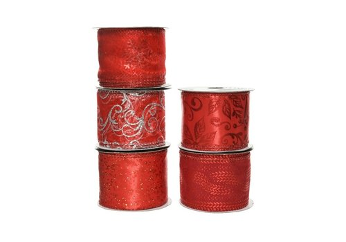 Kaemingk Polyester Ribbon With Wire Christmas Red