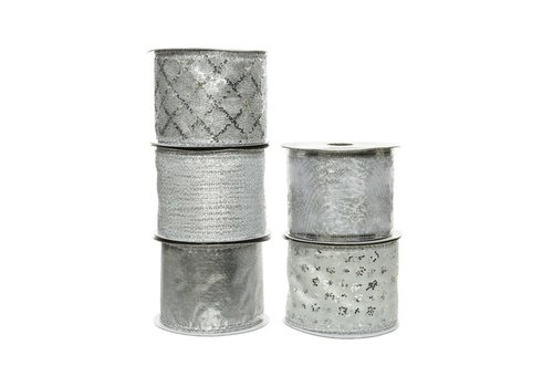 Kaemingk Polyester Ribbon With Wire Silver