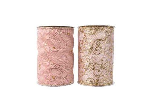 Kaemingk Polyester Ribbon With Wire Blush Pink