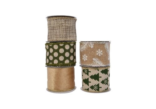 Kaemingk Polyester Ribbon With Wire Natural