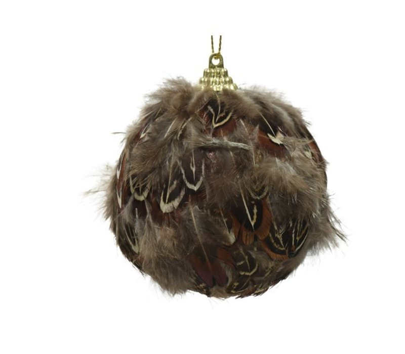 Real Feather Foam Bauble Brown