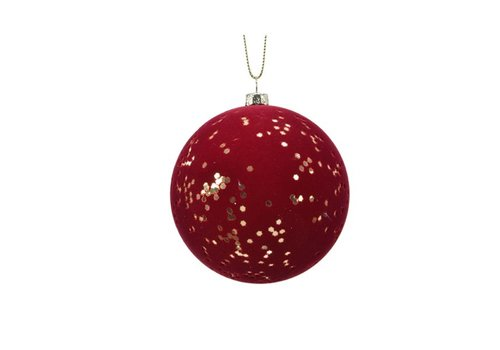 Kaemingk Flock Finish Ball With Gold Stars Oxblood/Gold
