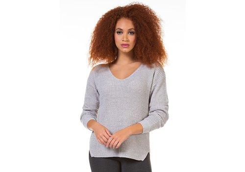 Dex Long Sleeve V-Neck Sweater Bevelled Hem