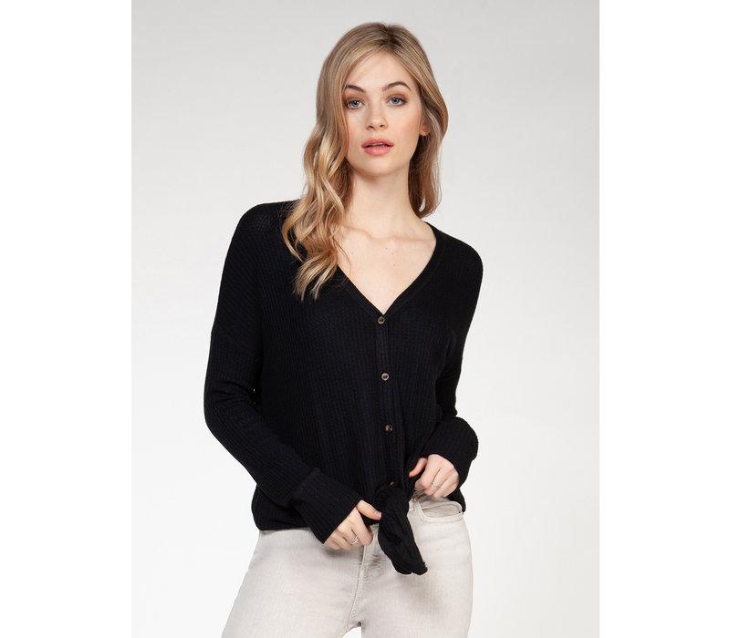 Long Sleeve V-Neck Button Down Top