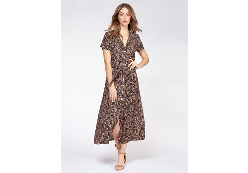 Dex Short Sleeve Button Front Maxi Dress