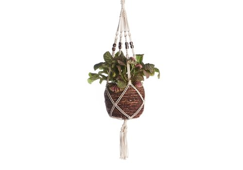 "Primitive Planters Brown Beaded Cotton Woven Hanger 42"""