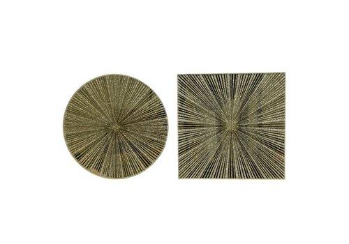 Kaemingk Glass Mirror Plate With Stripes Gold