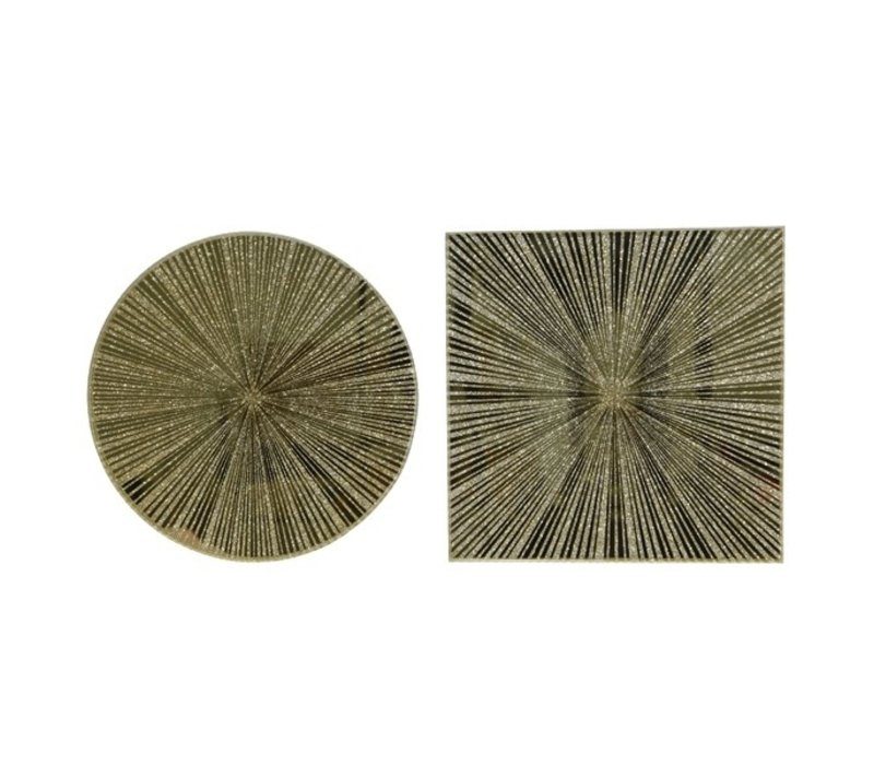 Glass Mirror Plate With Stripes Gold
