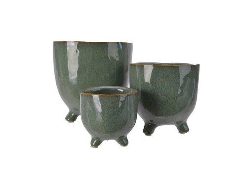 Kaemingk Stoneware Planter On Foot Reactive Glaze