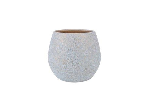 "Kaemingk Terracotta Planter White/Gold 8""x7"""