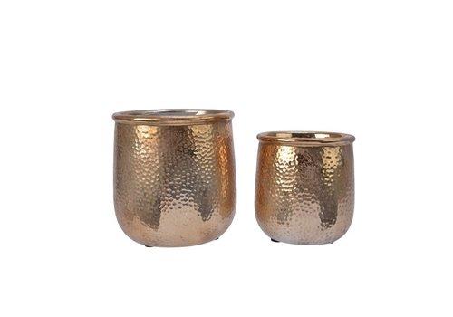 Kaemingk Hammered Look Stoneware Planter Light Gold