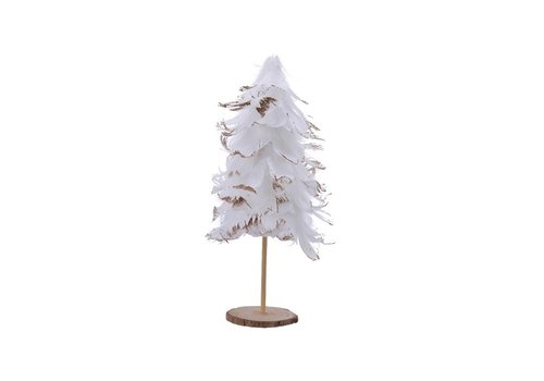 Feather Tree On Stand With Glitter White