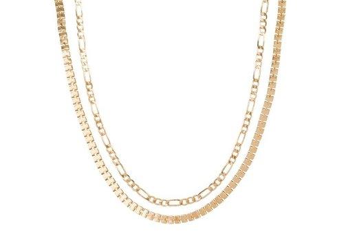 Club Manhattan Box Chain Necklace Set Gold