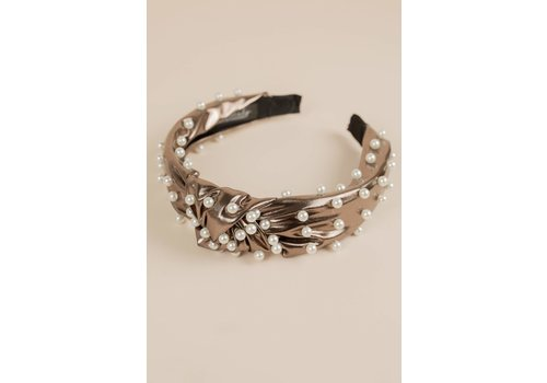Philocaly Faux Leather Pearl Headband