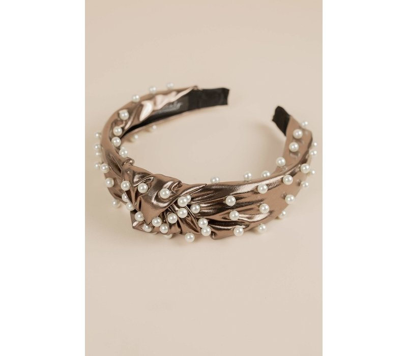 Faux Leather Pearl Headband
