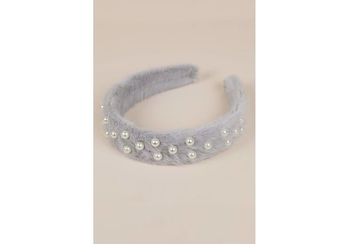Philocaly Faux Fur Pearl Headband