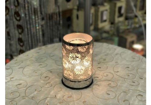 Silver Flower Oil Holder Touch Sensor Lamp