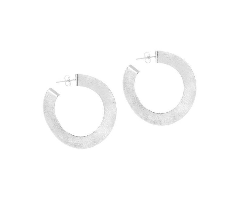 Earring Shiny Rhodium Free Curve Brushed