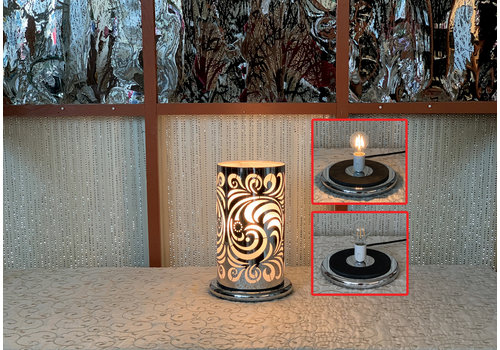 "Silver Paisley LED Touch Sensor Lamp 10""x16"""