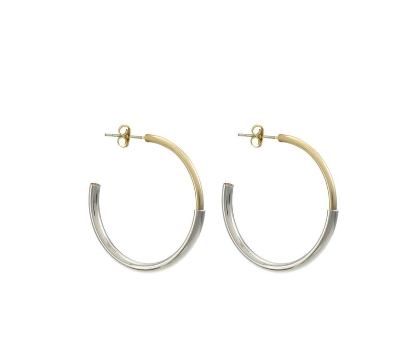 Earring Shiny Gold and Rhodium