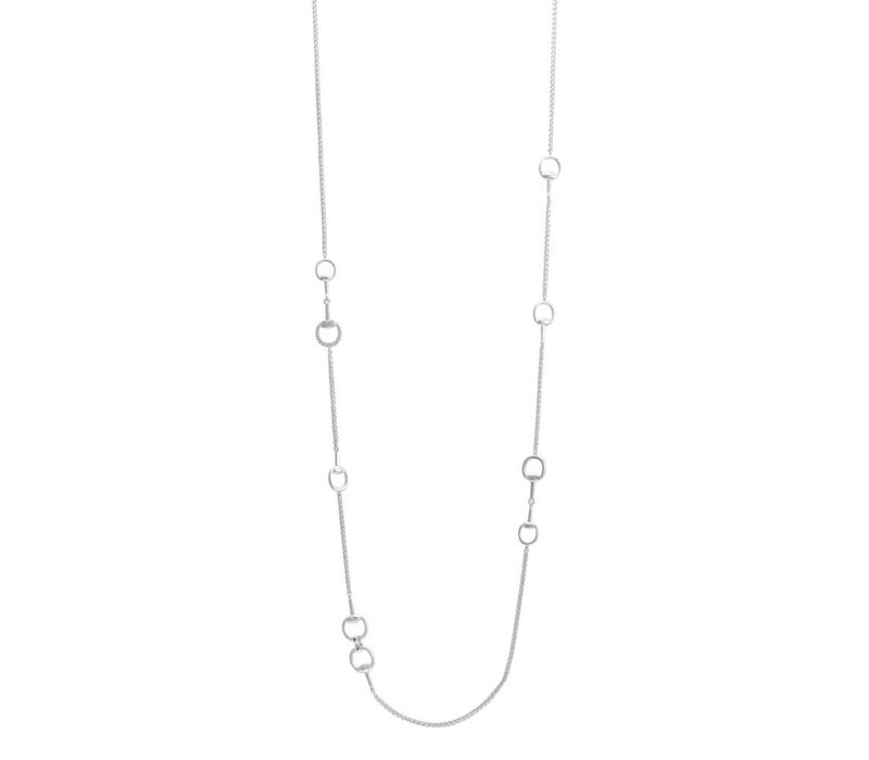 White Cubic Zirconia Necklace Rhodium Circles
