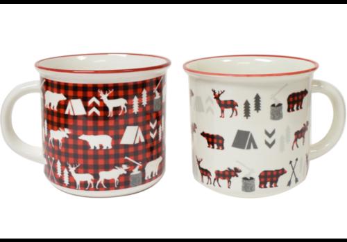 Christmas Stoneware Enamel Mug Buffalo Plaid 13oz