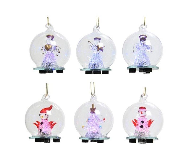 """LED Glass Christmas Figure Warm White 2.5"""""""