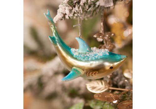 Glenhaven Home & Holiday Shark Glass Ornament