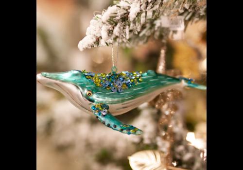 Glenhaven Home & Holiday Humpback Whale Glass Ornament
