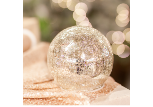 Glenhaven Home & Holiday Crackle Finish Glass Ball With Lights Silver