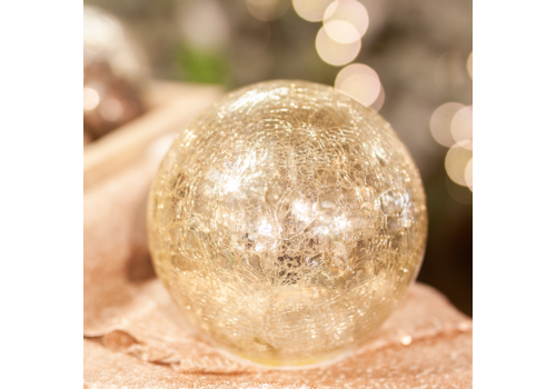 Glenhaven Home & Holiday Crackle Finish Glass Ball With Lights Gold