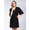 Black Tape Lace Insert Wrap Dress