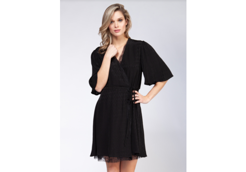 Black Tape Lace Insert Wrap Dress