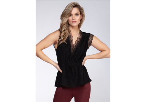 Black Tape Lace Insert Wrap Top
