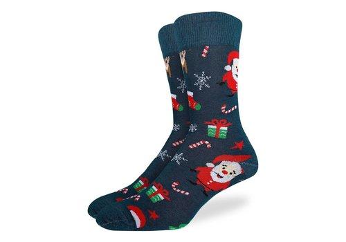 Good Luck Sock Men's Santa and Rudolph Socks