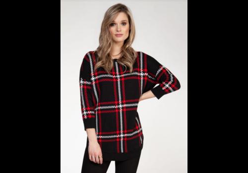 Black Tape Plaid Round Hem Sweater 3/4 Sleeve