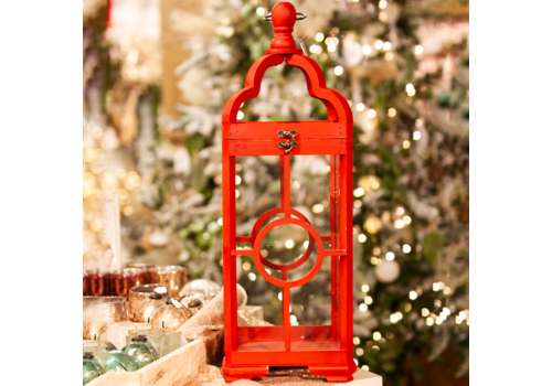 Glenhaven Home & Holiday Lantern Red