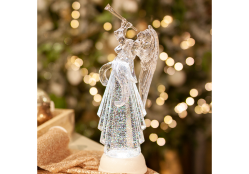 Glenhaven Home & Holiday Lighted Angel With Horn Shimmer Decor