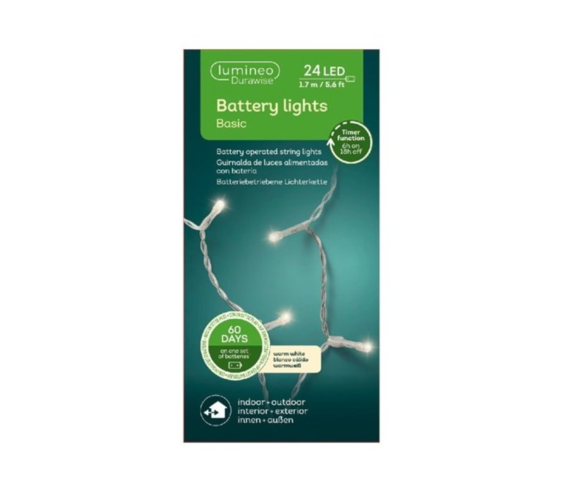 LED Durawise Basic White String Light Warm White 170cm-24L
