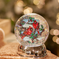 Lighted Cardinal Shimmer Globe
