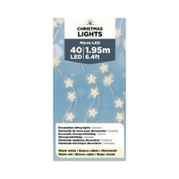 "Micro LED Star Silver Wire Warm White 77""-40L"
