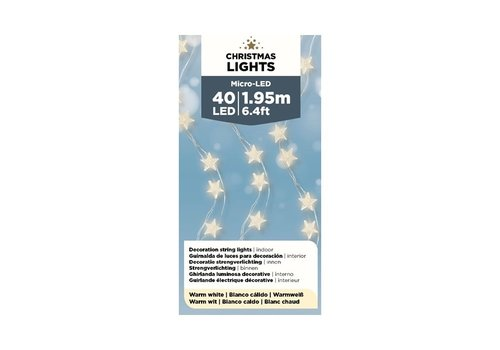"Kaemingk Micro LED Star Silver Wire Warm White 77""-40L"