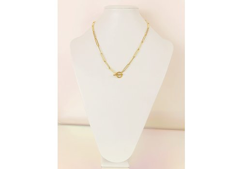 Park & Buzz Paperclip Toggle Necklace Gold Large