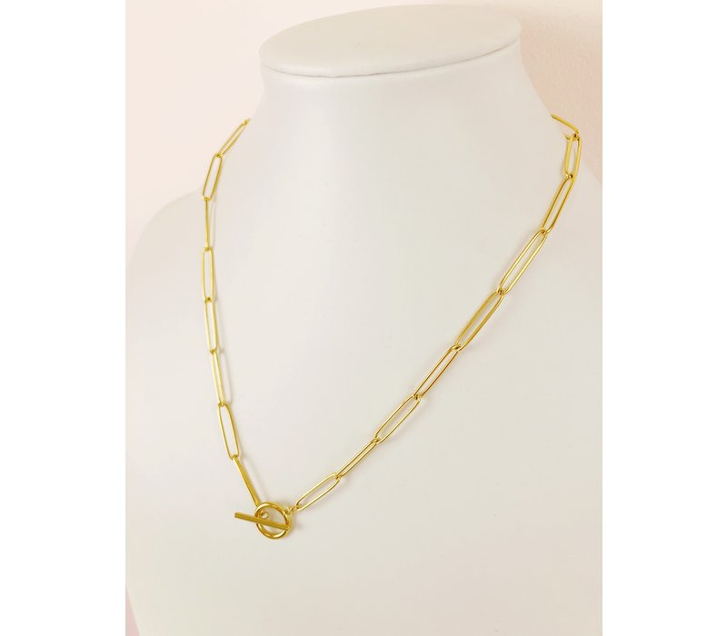 Paperclip Toggle Necklace Gold Large