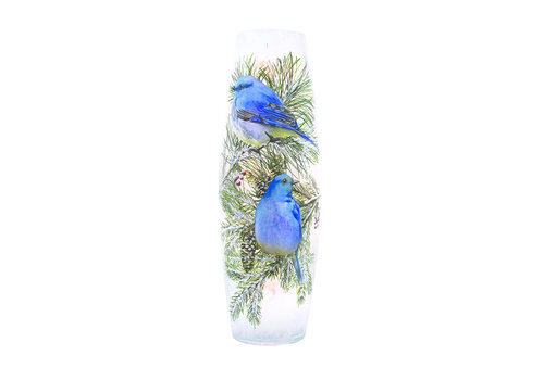 Stony Creek Winter Bluebird Pre-Lit Large Vase